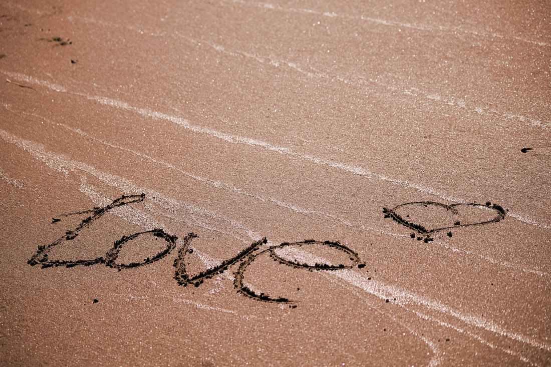 beach conceptual footprint heart